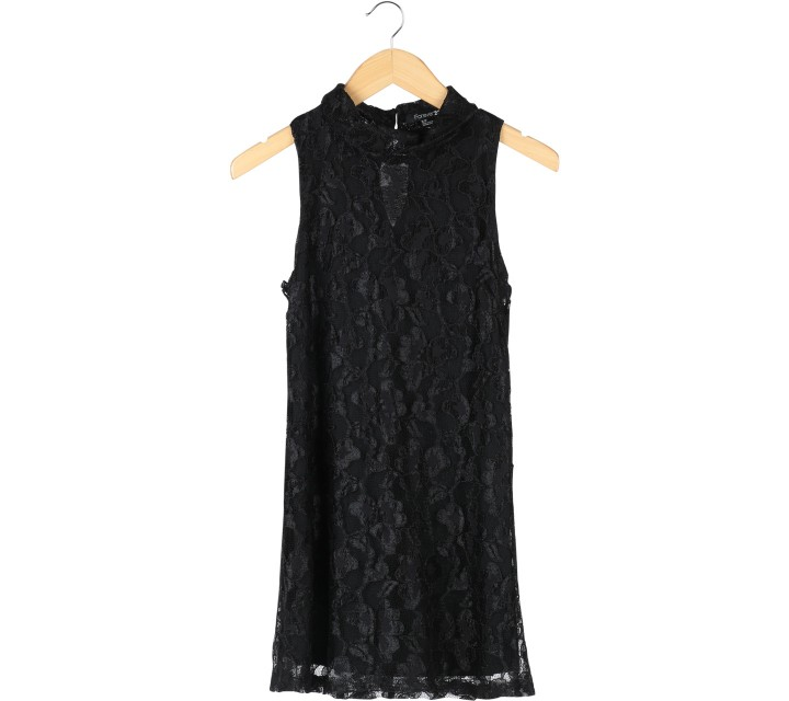 Forever 21 Black Floral Lace Sleeveless Mini Dress