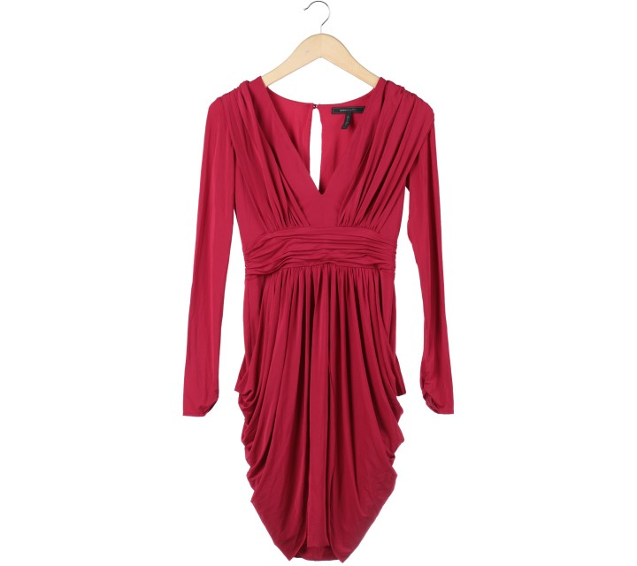 BCBG Red Drapped Midi Dress