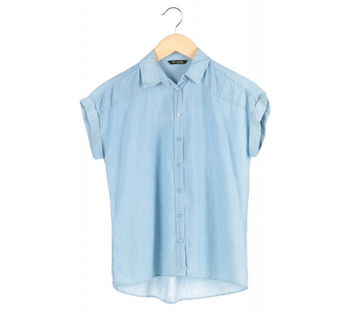 Blue Denim Short Sleeve Top