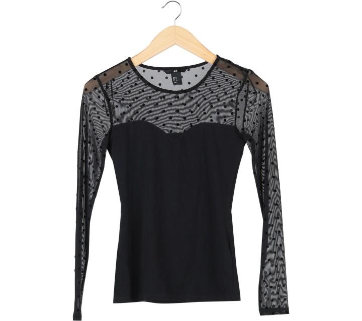 H&M Black Polka Dot Sheer Insert T-Shirt