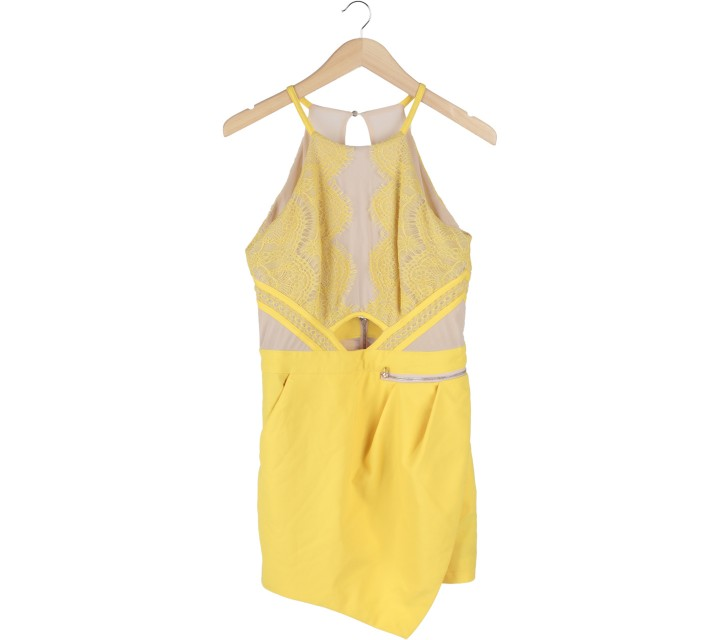 MDS Yellow And Cream Lace Sleeveless Cut Out Jumpsuit