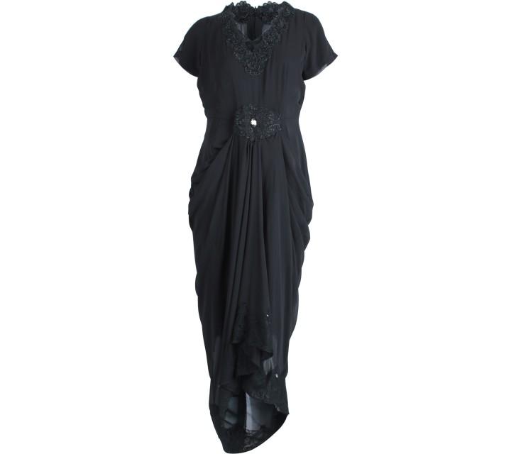 Black Beaded Caftan Long Dress