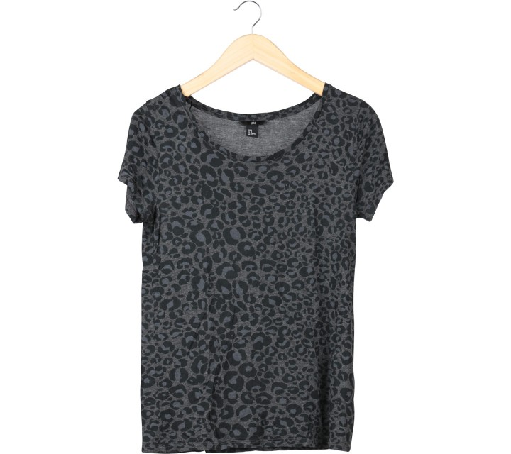 H&M Black And Grey Leopard Blouse