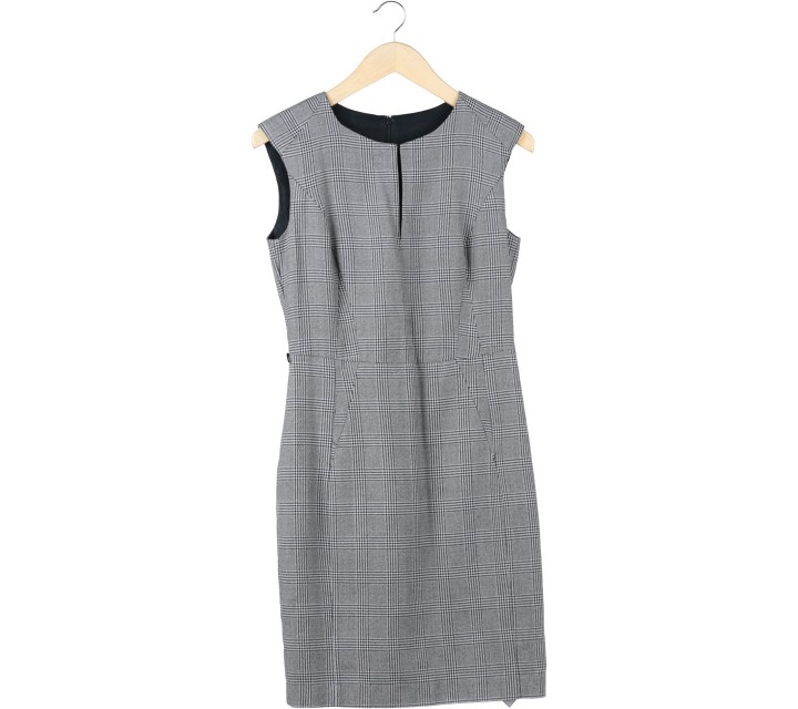 Mango Black And White Plaid Sleeveless Midi Dress