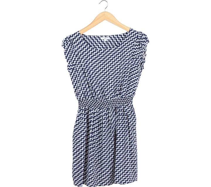 New Look Dark Blue And White Zig-Zag Mini Dress