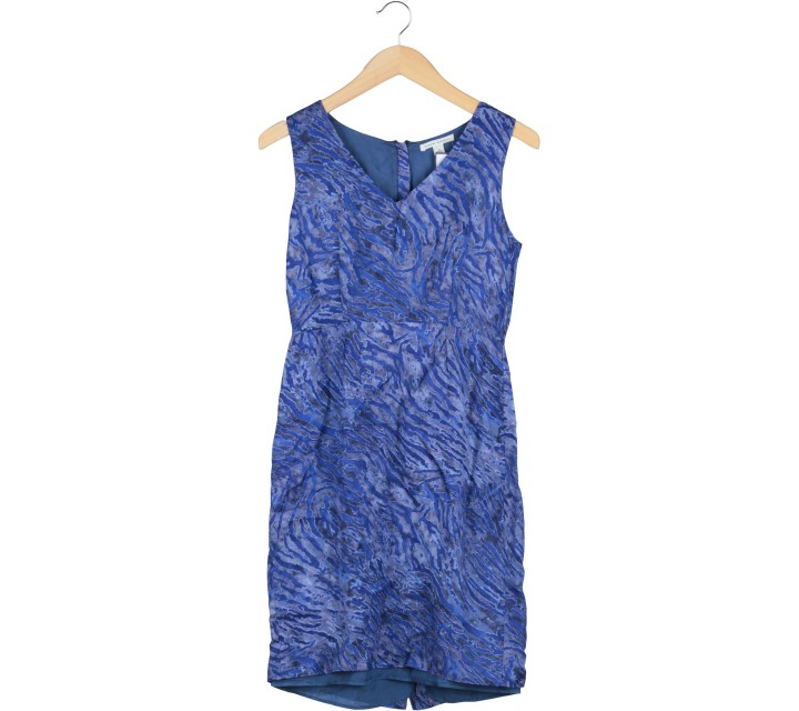 Banana Republic Blue Abstract Sleeveless Midi Dress