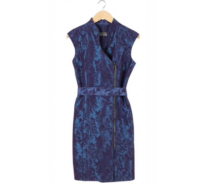 Purple Printed Cheong Sam Mini Dress