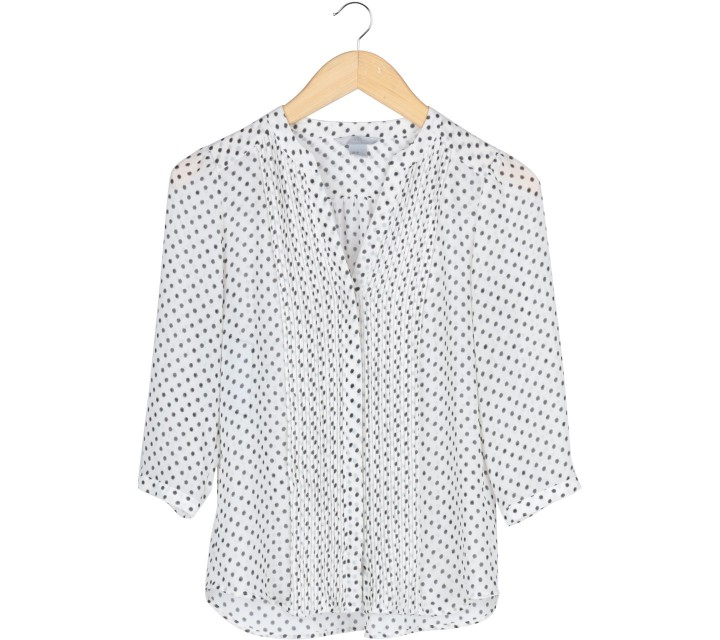 H&M Off White And Black Polkadot Shirt