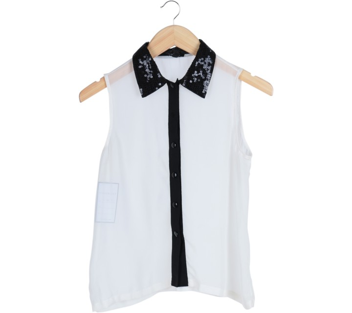 Cloth Inc White And Black Sequins Collar Sleeveless Blouse