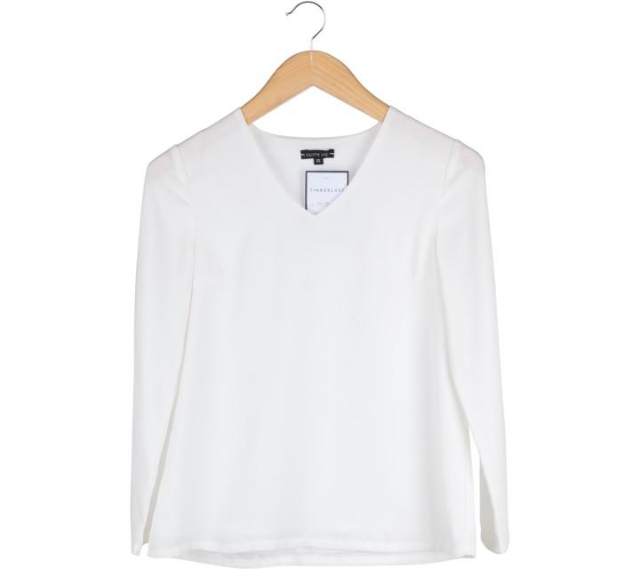 Cloth Inc White V-Neck Long Sleeve Blouse