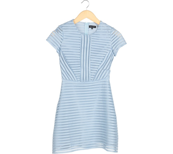 Zalora Blue Perforated Mini Dress