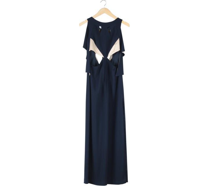 Amanda Rahardjo Dark Blue And Cream Backless Cut Out Slit  Long Dress