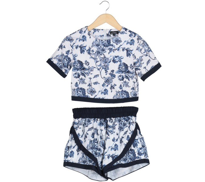 Zalora White And Blue Floral Top And Pants Two Piece