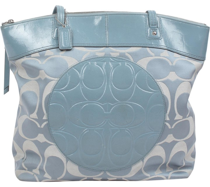 Coach Blue Laura Signature Tote Bag