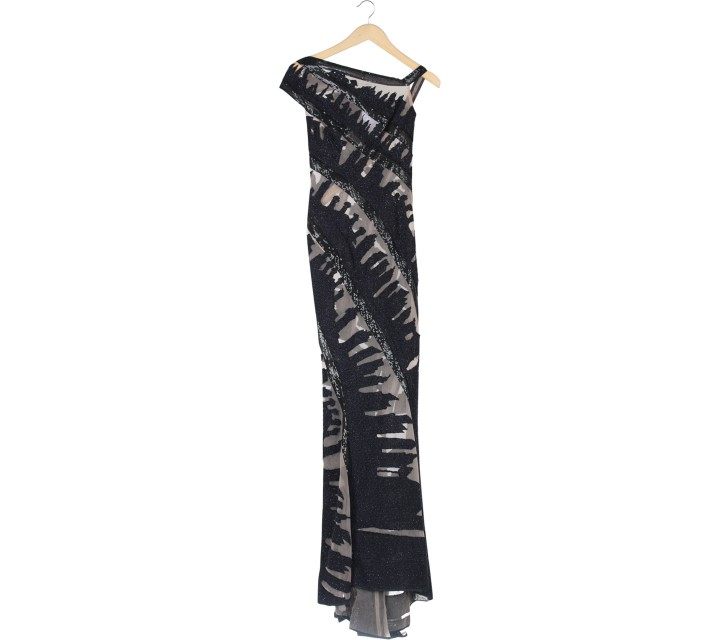 Mel Ahyar Black And Purple Sequins Long Dress