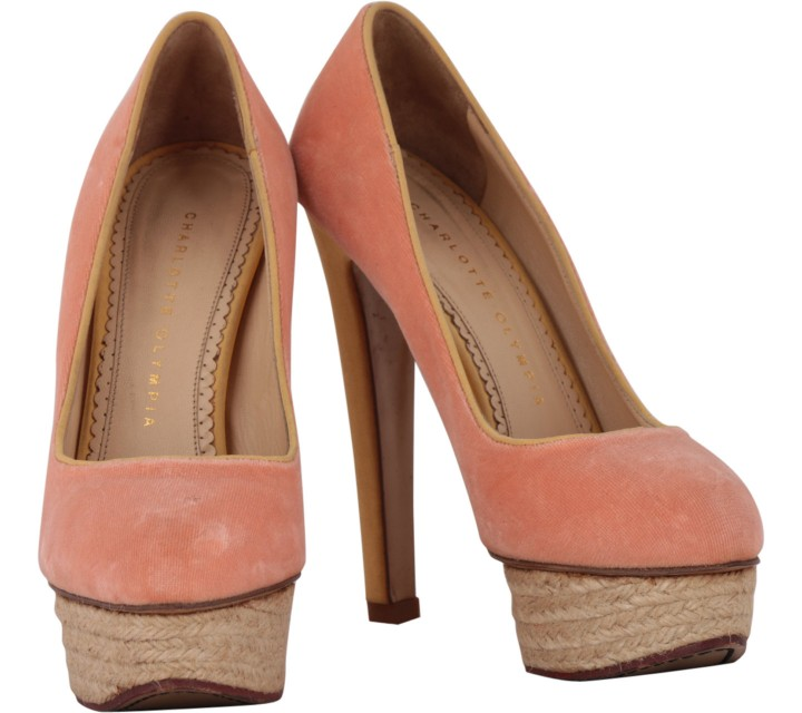 Charlotte Olympia Pink Suede Dolly Heels