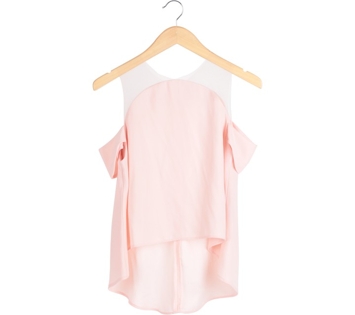 N.Y.L.A Pink Bardot Sheer Insert Blouse