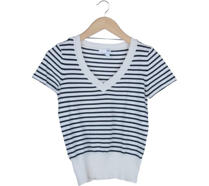 H&M Dark Blue And White Striped Sweater