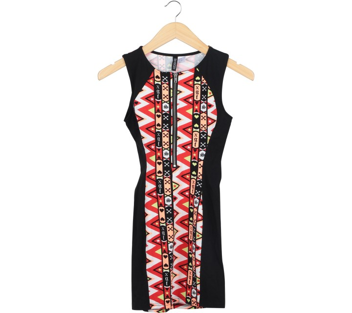 Divided Multi Colour Sleeveless Midi Dress