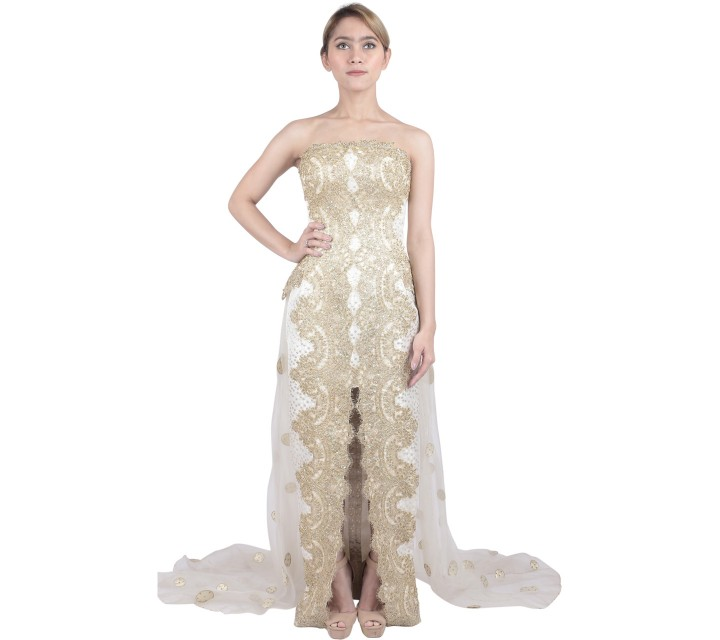 Marga Alam Cream And Gold Sequins Long Dress