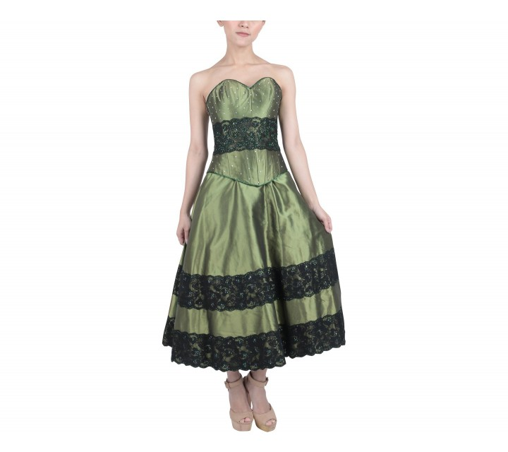 Marga Alam Green And Black Tube Two Piece