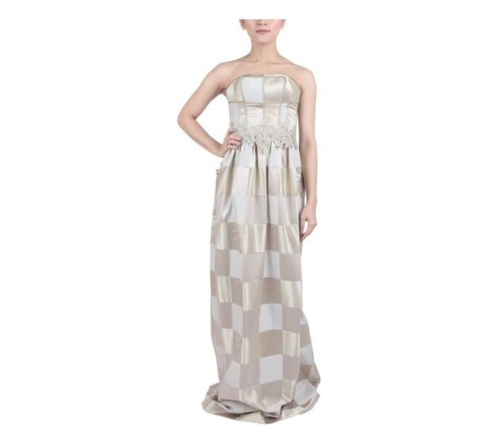 Marga Alam Grey And Gold Tube Long Dress