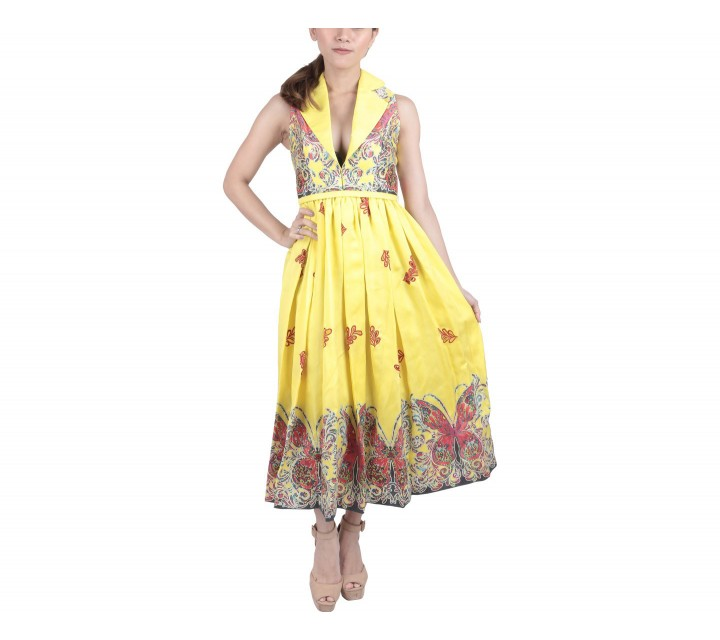 Marga Alam Yellow Patterned Midi Dress