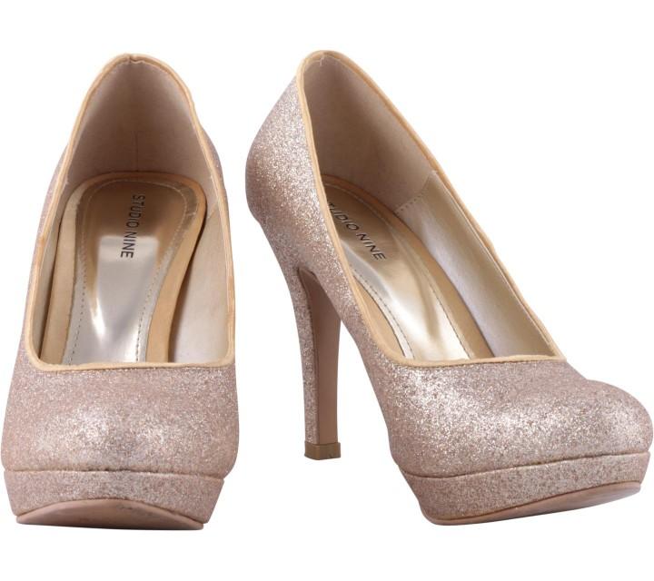 Studio Nine Gold Glittery Platform Heels