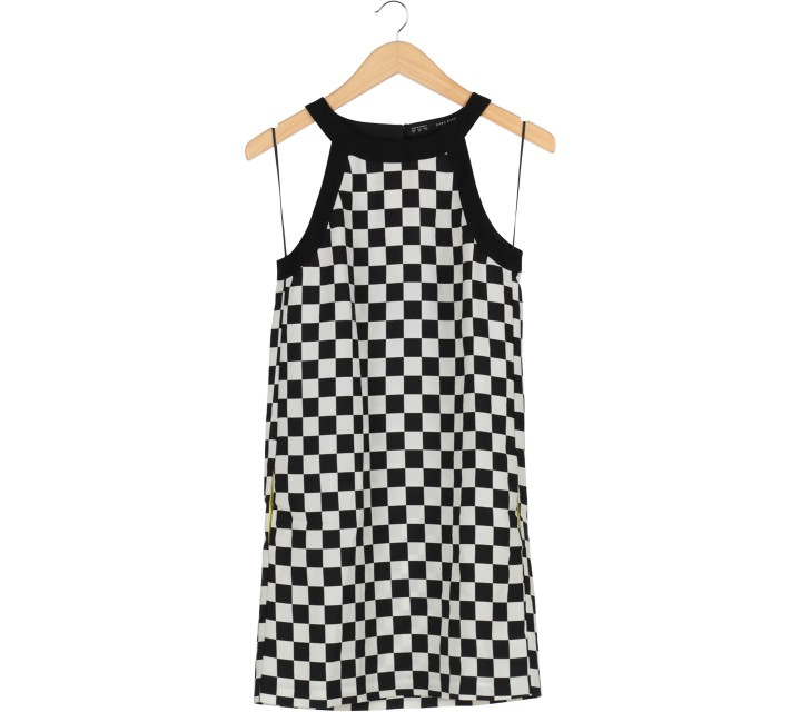 Zara Black And White Checkered Sleeveless Mini Dress