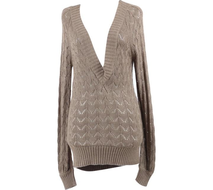 Mango Brown V-Neck Sweater