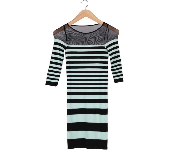 Bebe Green And Black Striped Long Sleeve Mini Dress