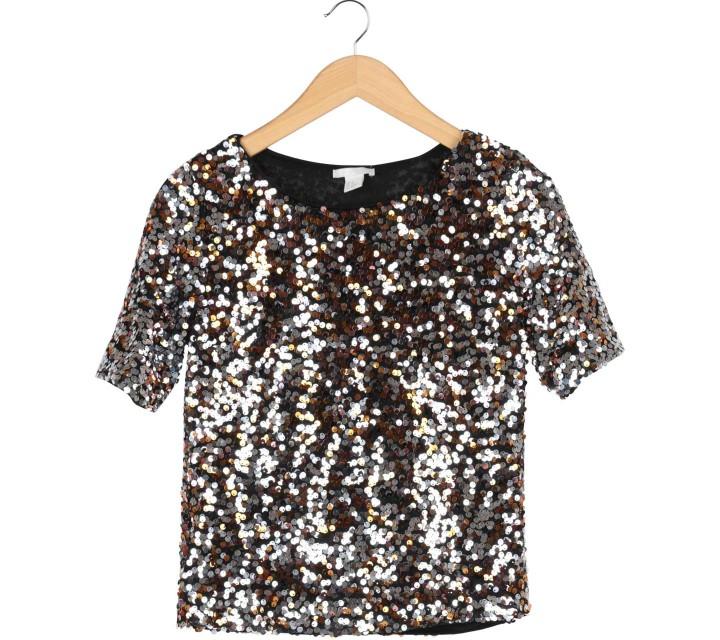 H&M Multi Colour Sequined Blouse