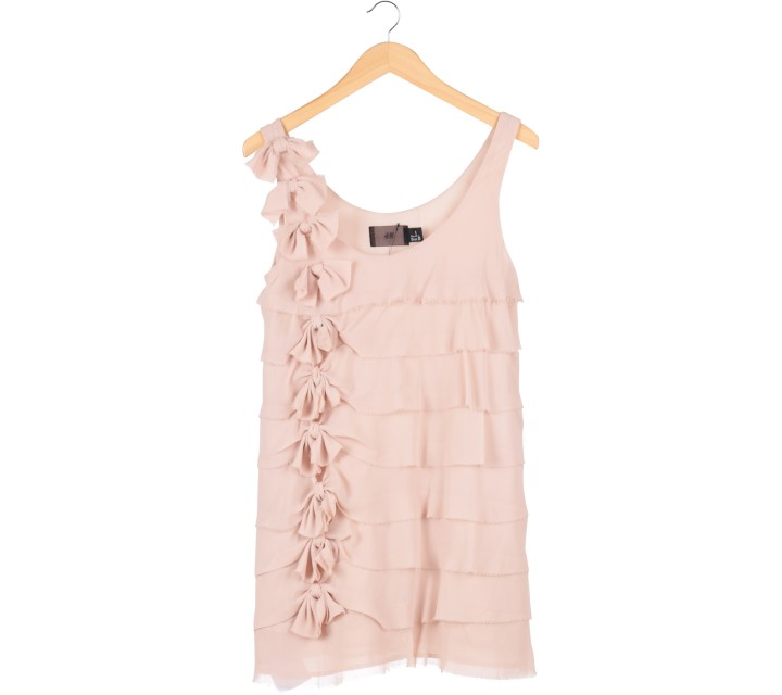 H&M Cream Ruffle Mini Dress