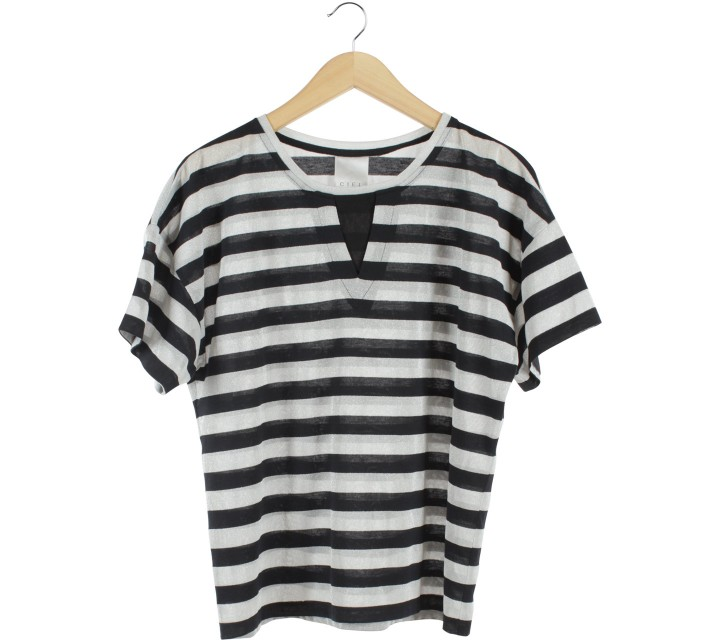 Ciel Black And Grey Striped Blouse