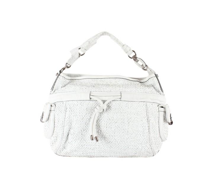 Coach White Kristin Woven Leather Drawstring Large Shoulder Bag