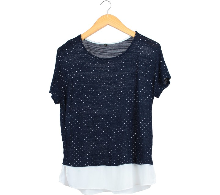 FvBasics Dark Blue And White Polka Dot Blouse