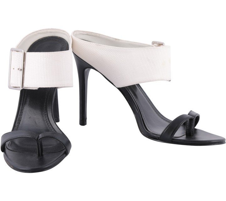 Charles and Keith Black And White Sandals Heels