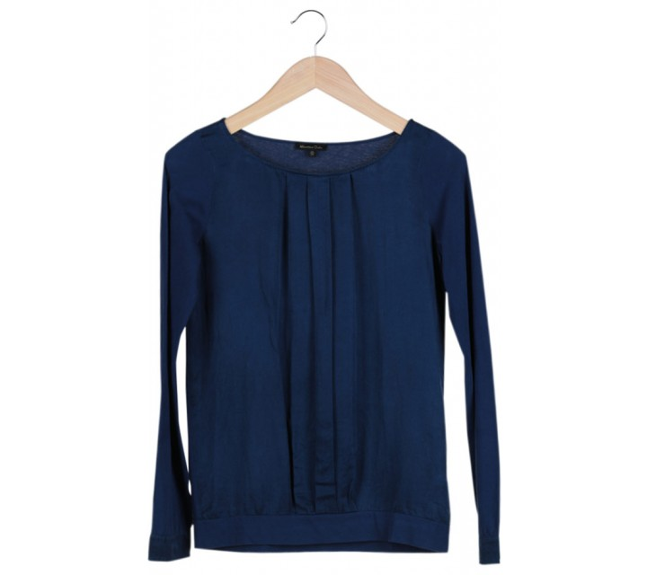 Dark Blue Pleated  Blouse