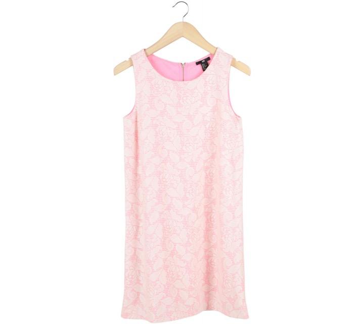 H&M Off White And Pink Lace Sleeveless Mini Dress