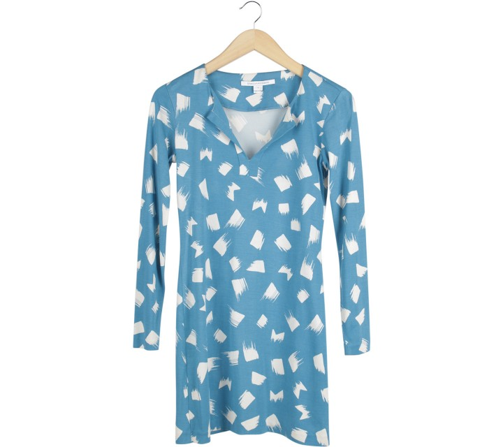Diane Von Furstenberg Blue And White Mini Dress