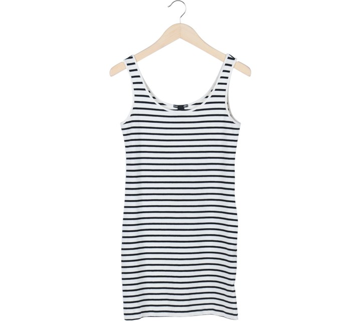H&M White and Black Striped Sleeveless Mini Dress