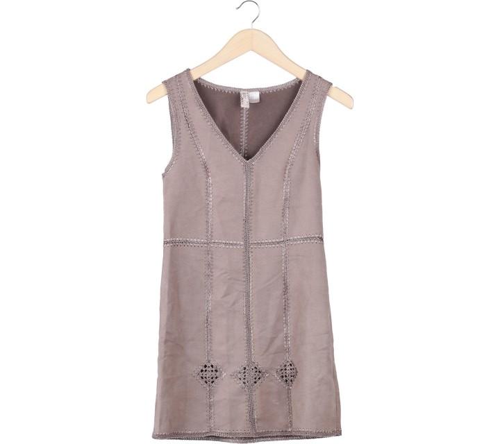 Divided Brown Sleeveless Mini Dress