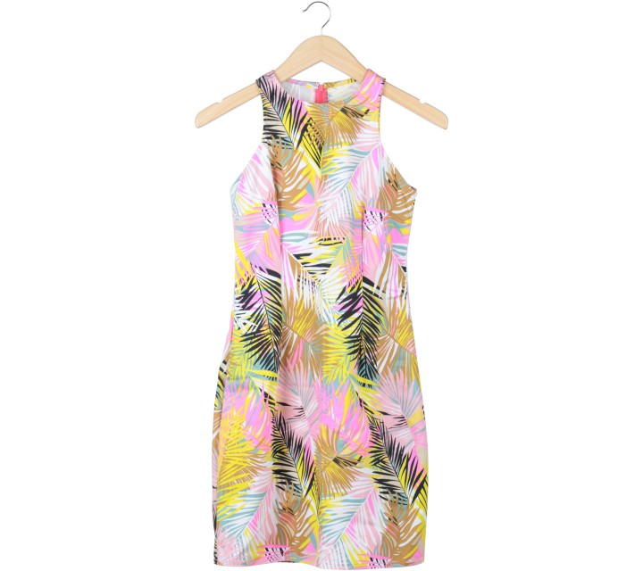 Multi Colour Abstract Sleeveless Midi Dress