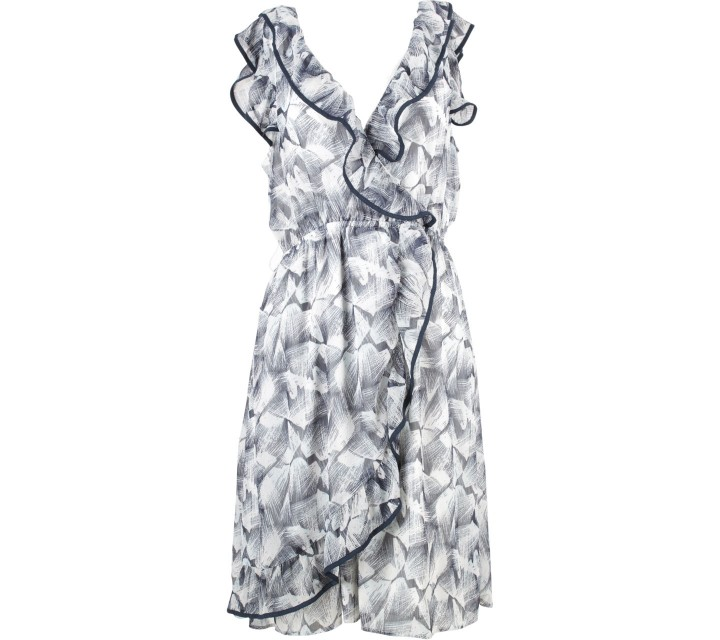 H&M Dark Blue And White Ruffle Mini Dress