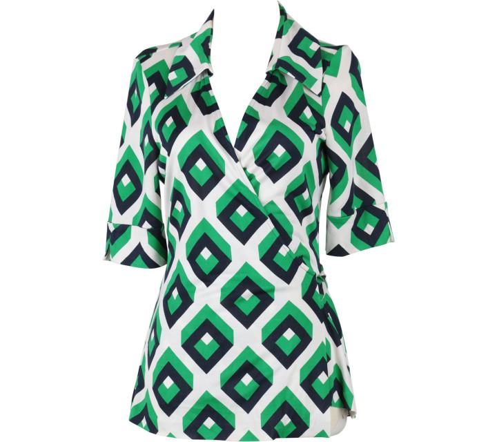 Diane Von Furstenberg Green Wrap Blouse