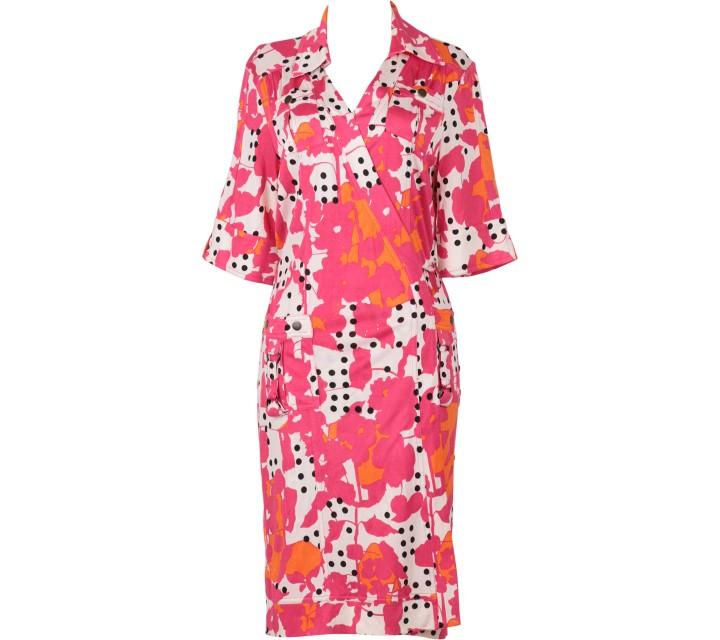 Diane Von Furstenberg Pink Wrap Midi Dress