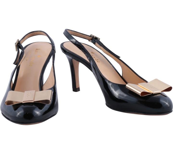 Kate Spade Black Patent Ribbon Heels