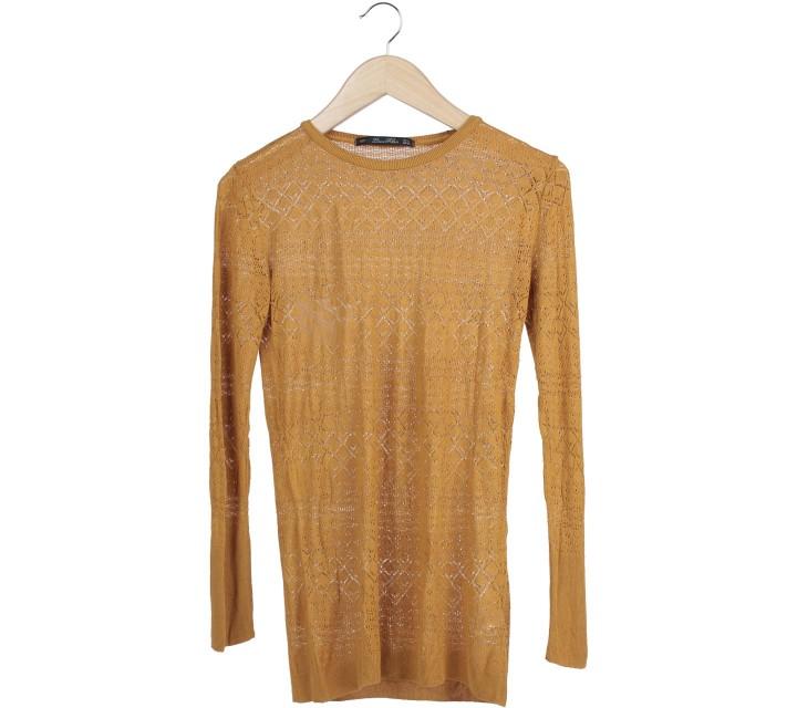 Zara Yellow Perforated Sweater