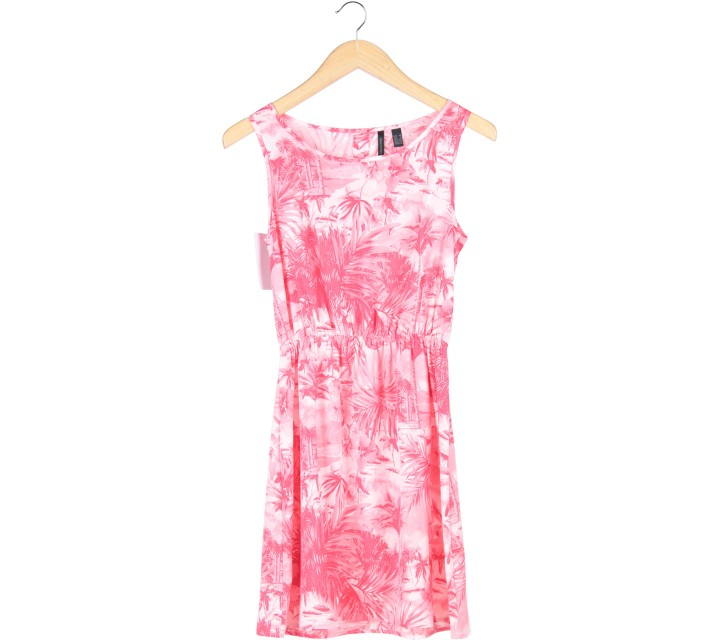 Mango Pink Palm Trees Sleeveless Mini Dress