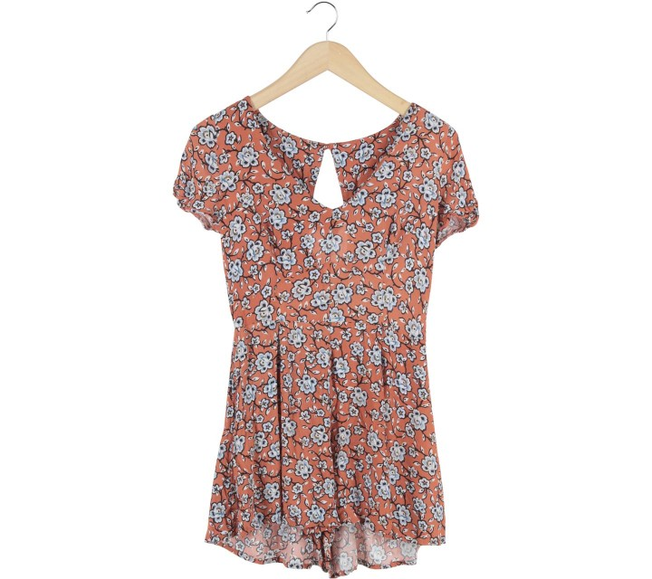New Look Orange Floral Jumpsuit